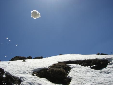 A snow ball takes flight :)